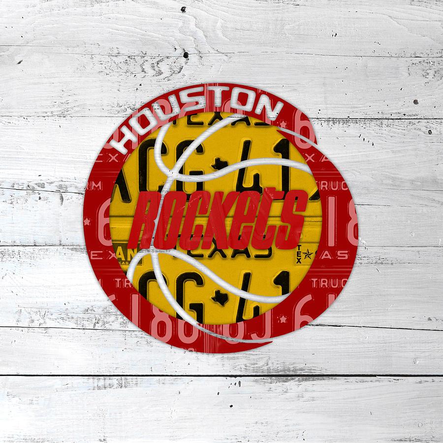 Houston Mixed Media - Houston Rockets Basketball Team Retro Logo Vintage Recycled Texas License Plate Art by Design Turnpike