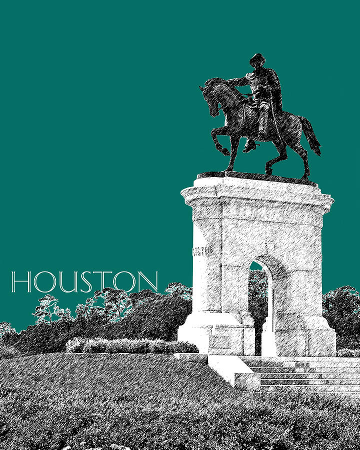 Architecture Digital Art - Houston Sam Houston Monument - Sea Green by DB Artist