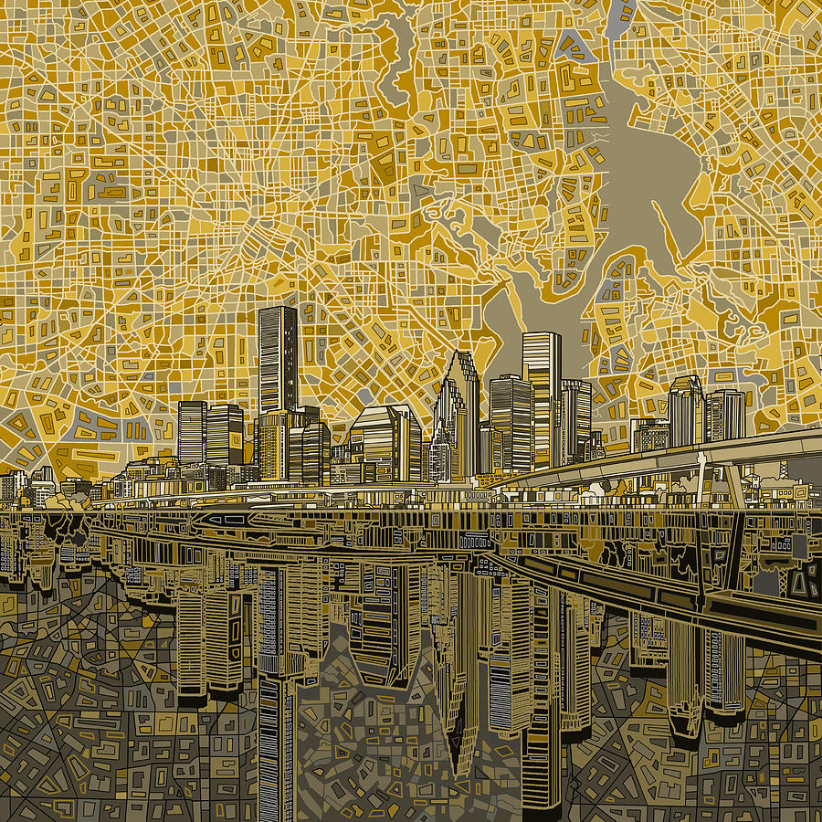 Houston Painting - Houston Skyline Abstract 4 by Bekim M