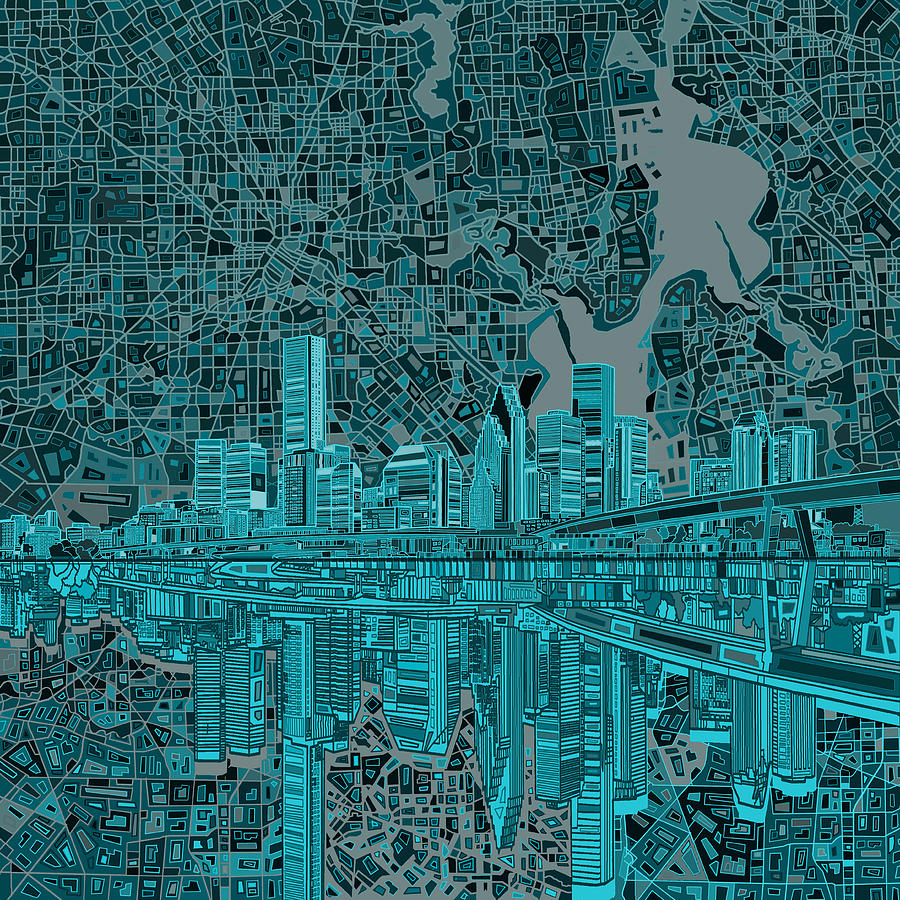 Houston Painting - Houston Skyline Abstract 7 by Bekim M
