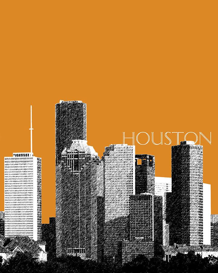 Architecture Digital Art - Houston Skyline - Dark Orange by DB Artist