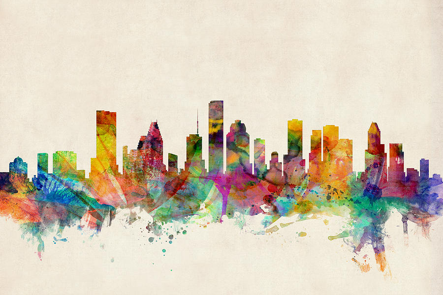 Watercolour Digital Art - Houston Texas Skyline by Michael Tompsett