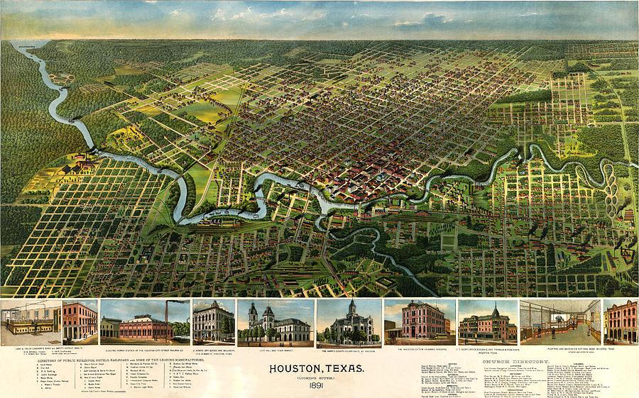 Houston Photograph - Houston Vintage Map 1891 by Stephen Stookey
