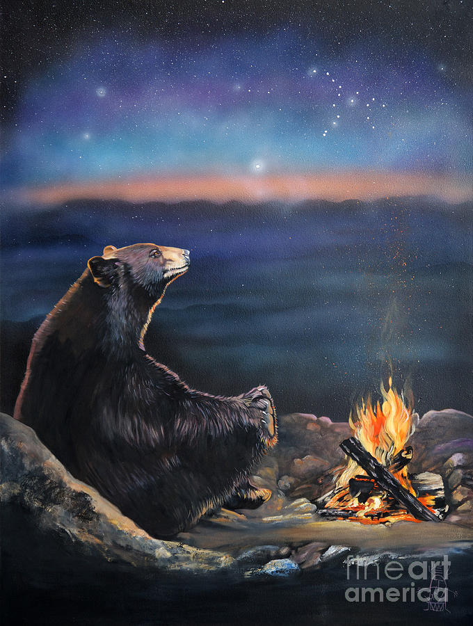 Spiritual Painting - How Grandfather Bear Created The Stars by J W Baker