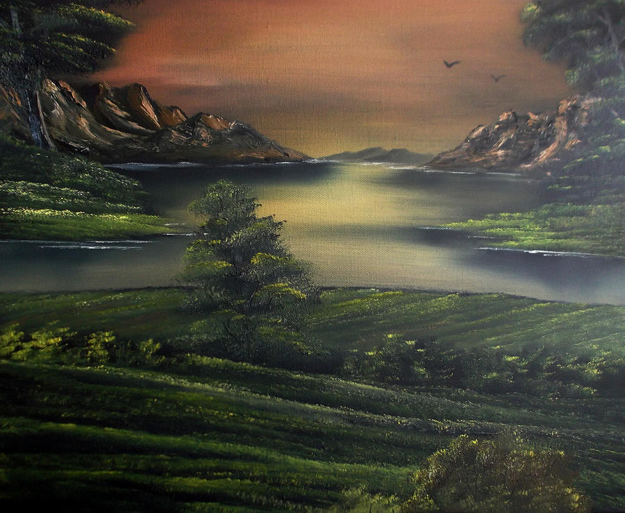 Landscape Painting - How Green Is My Valley by Cynthia Adams