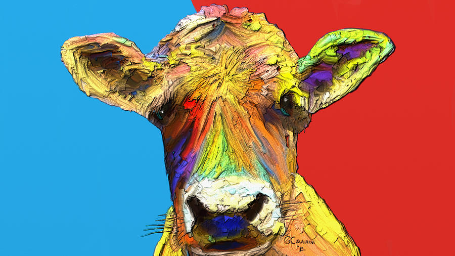 Cow Mixed Media - How Now by G Cannon