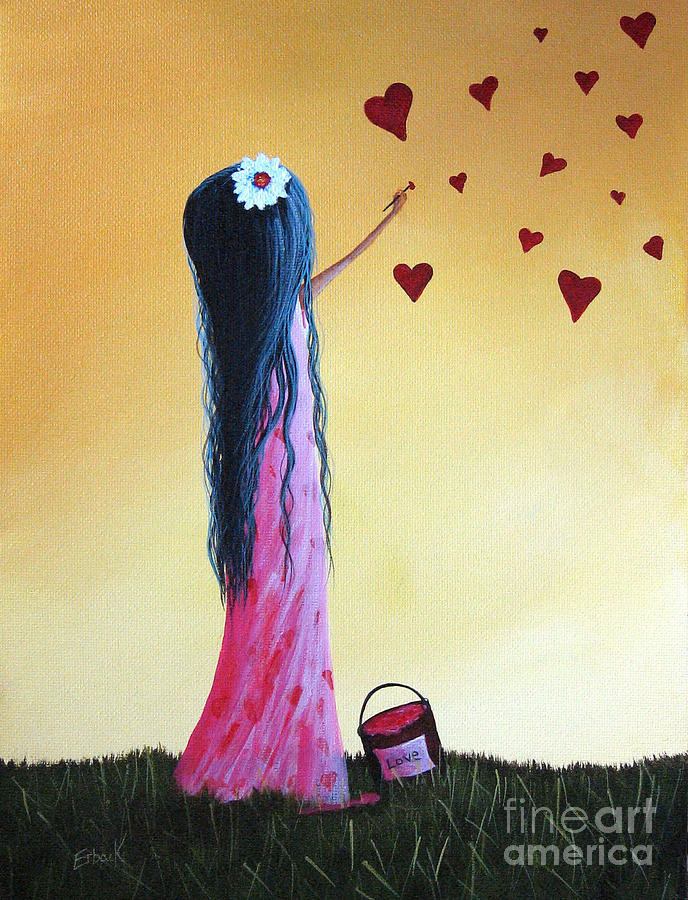 Little Girl Painting - How She Says I Love You By Shawna Erback by Erback Art
