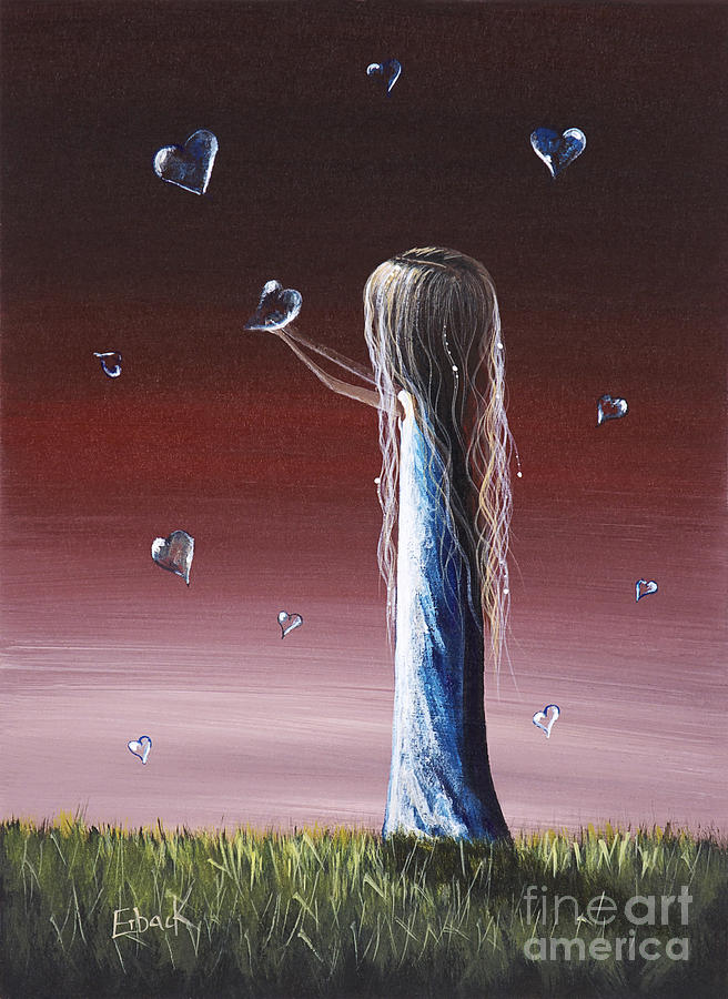 Girl Painting - How She Says I Miss You By Shawna Erback by Shawna Erback