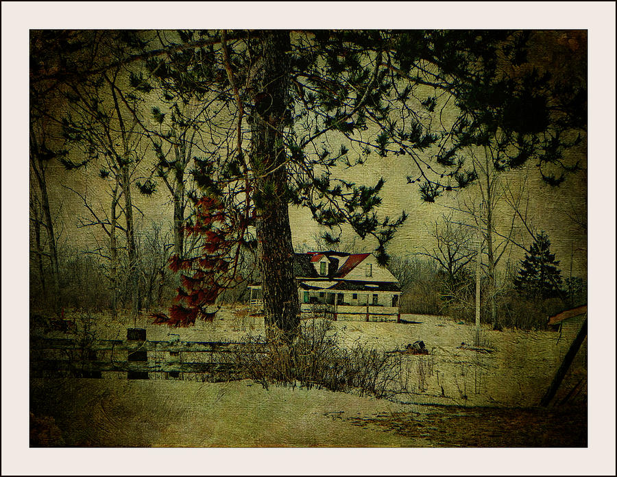 Spring Snow Fence Tree Abandoned House Scenery Nature View Textures  Photograph - How Spring Came by Dianne  Lacourciere