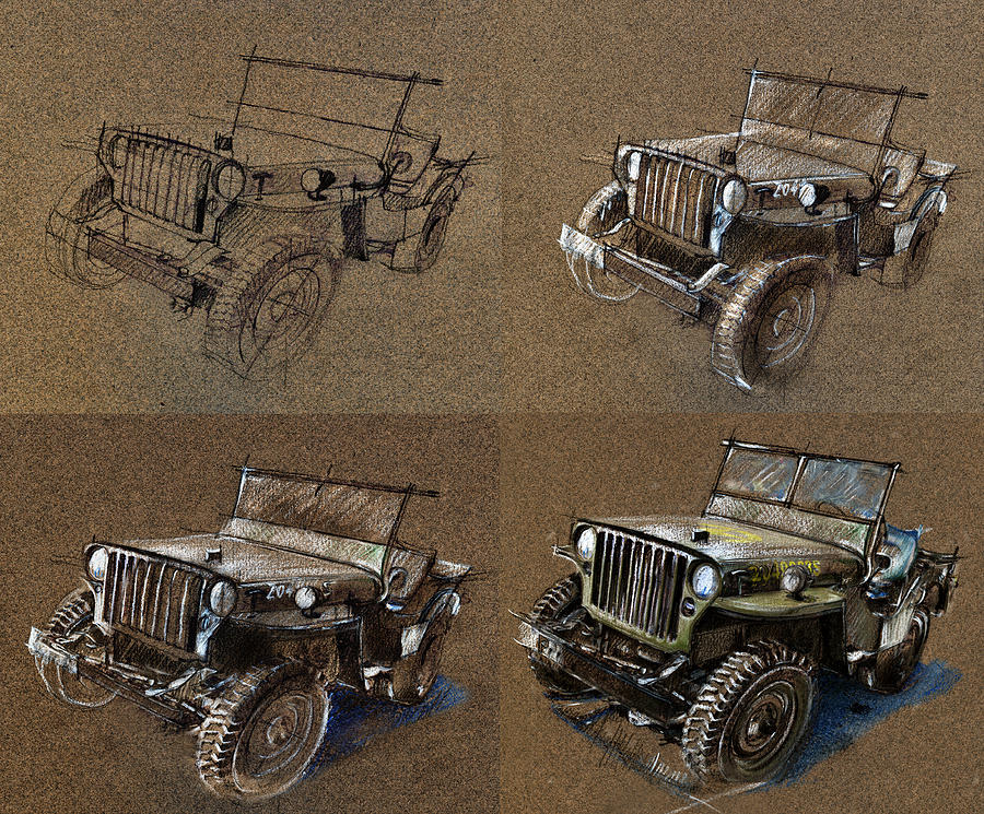 1943 Willys Jeep Mb Drawing - How To Draw A 1943 Willys Jeep Mb Car by Daliana Pacuraru