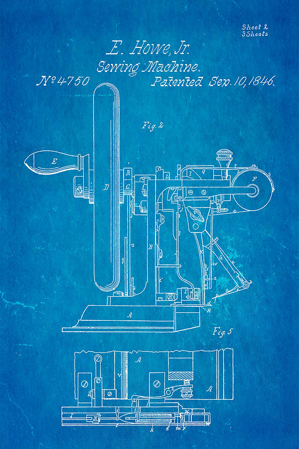 Howe sewing machine patent art 1846 blueprint photograph by ian monk crafts photograph howe sewing machine patent art 1846 blueprint by ian monk malvernweather Image collections
