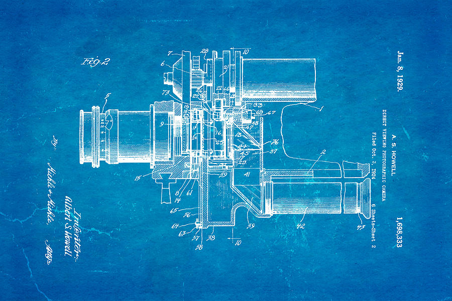 Famous Photograph - Howell Direct Viewing Camera 2 Patent Art 1929 Blueprint by Ian Monk