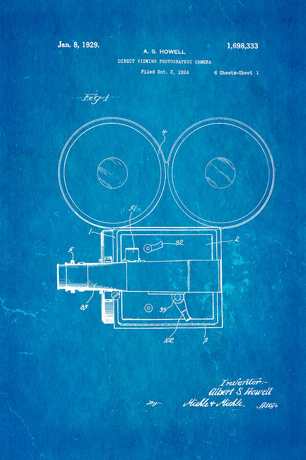 Howell direct viewing camera patent art 1929 blueprint photograph by famous photograph howell direct viewing camera patent art 1929 blueprint by ian monk malvernweather Images