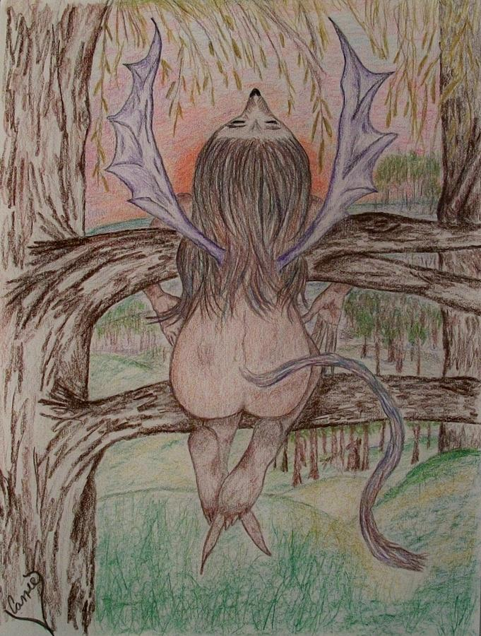 Faerie Drawing - Howl by Carrie Viscome Skinner
