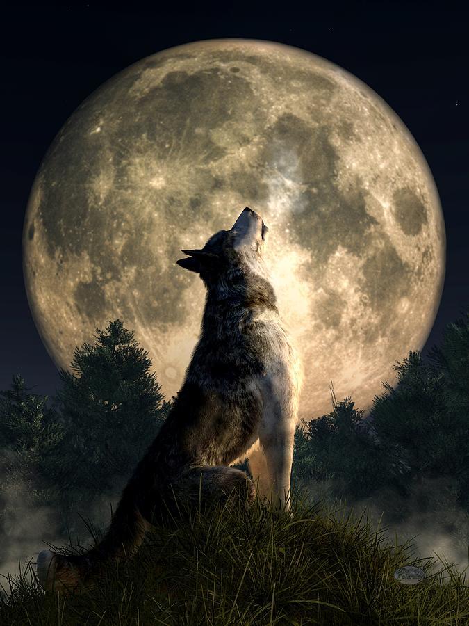 Wolf Digital Art - Howling Wolf by Daniel Eskridge