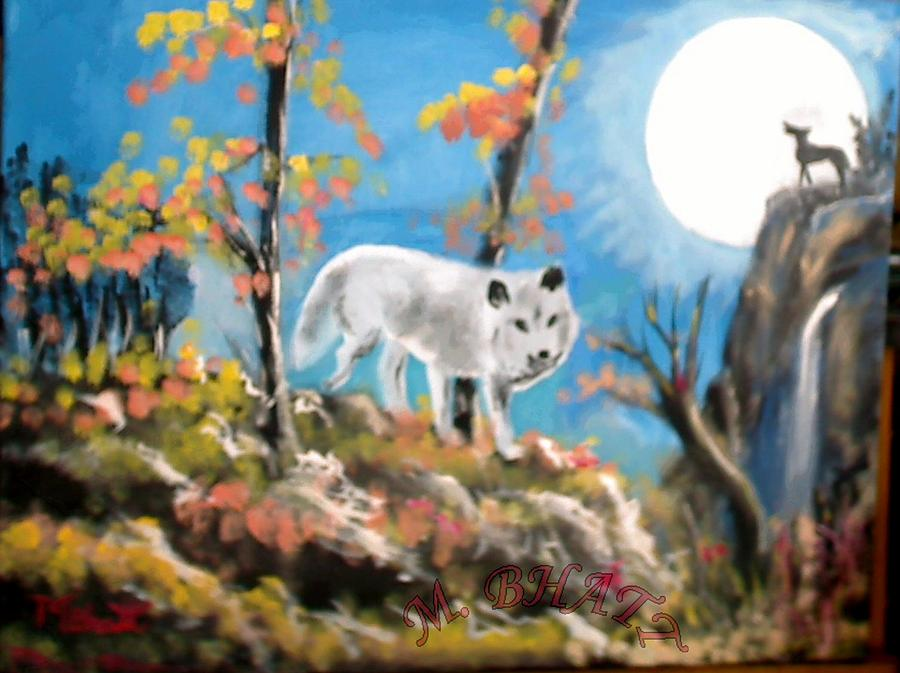 Wolves Painting - Howling Wolves by M Bhatt
