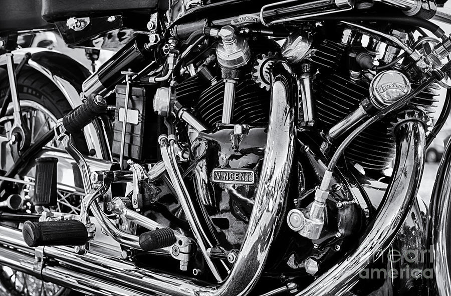Vintage Photograph - HRD Vincent Motorcycle Engine by Tim Gainey