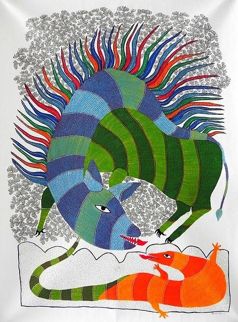 Gond Art Painting - Hu 46 by Heeraman Urveti