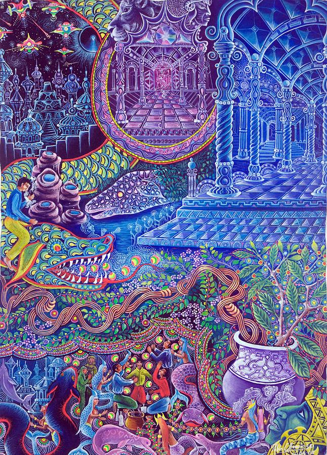 Pablo Amaringo Painting - Huasi Yachana by Pablo Amaringo