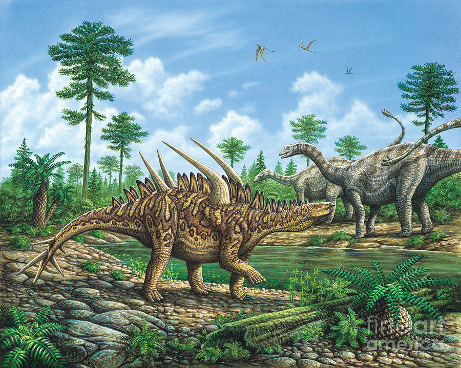 Dinosaur Painting - Huayangosaurus And Shunosaurus by Phil Wilson