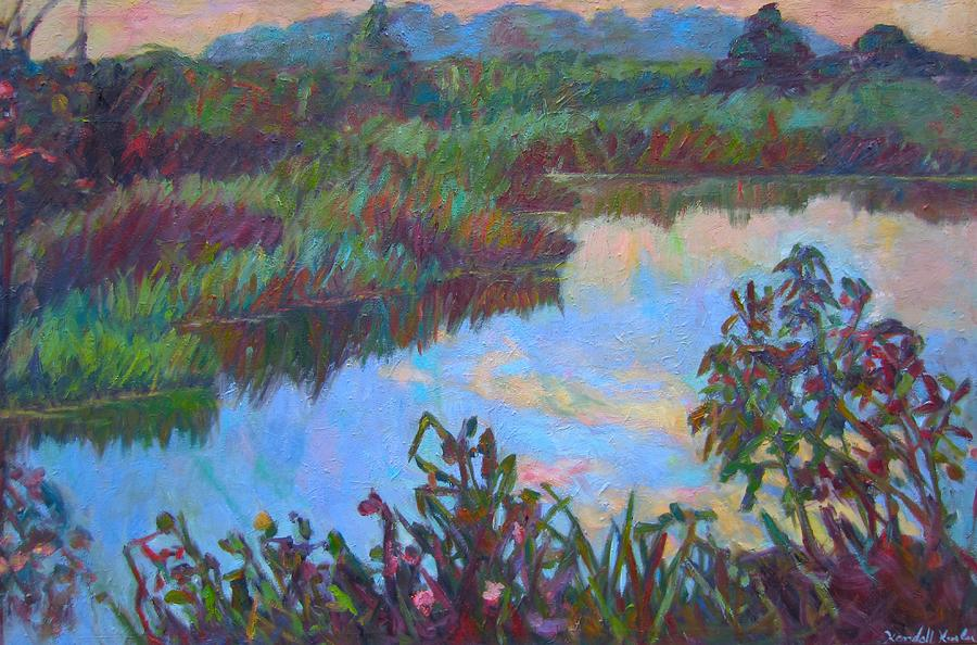 Landscape Painting - Huckleberry Line Trail Rain Pond by Kendall Kessler