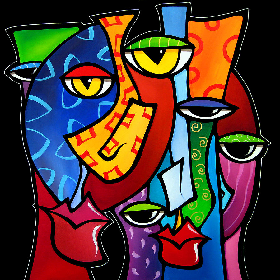 Abstract Art Paintings Painting - Huddle Up By Fidostudio by Tom Fedro - Fidostudio