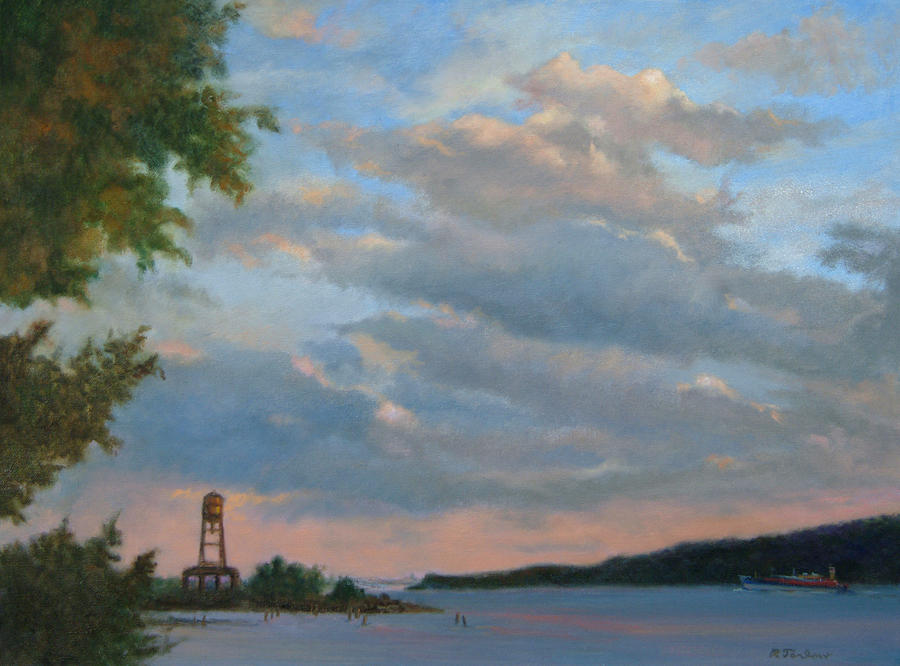Hudson River Painting - Hudson River Skyscape  by Phyllis Tarlow