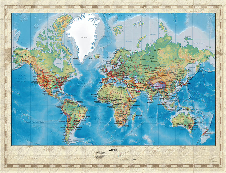 Huge Hi Res Mercator Projection Physical And Political Relief