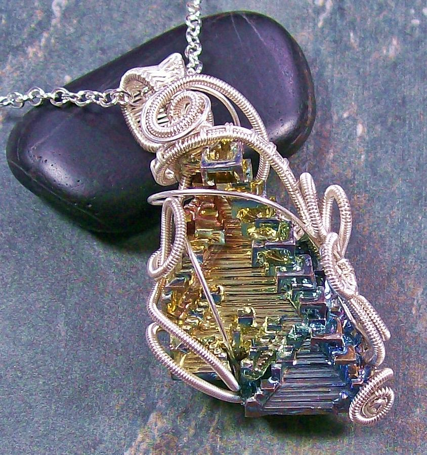 Huge wire wrapped bismuth crystal and silver pendant ooak jewelry silver jewelry huge wire wrapped bismuth crystal and silver pendant ooak by heather aloadofball Gallery