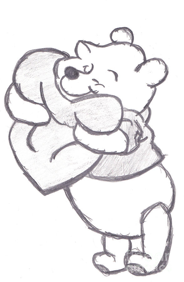 Huggable Pooh Bear Drawing by Melissa Vijay Bharwani