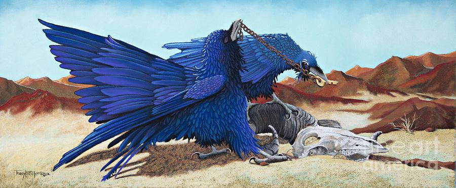 Raven Pastel - Huginn and Muninn by Tracy L Teeter
