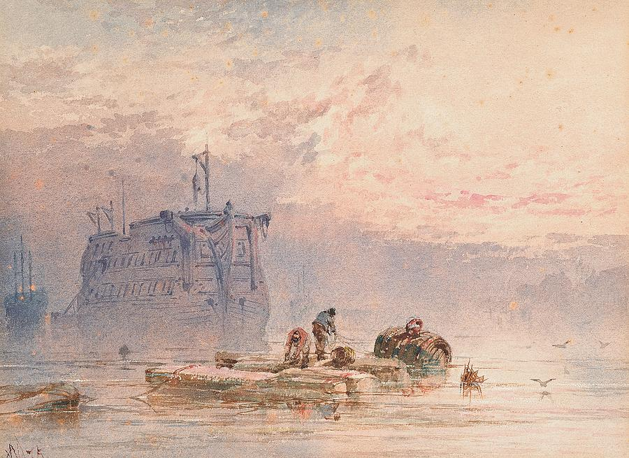 Hulk Painting - Hulks At Anchor by William Cook of Plymouth