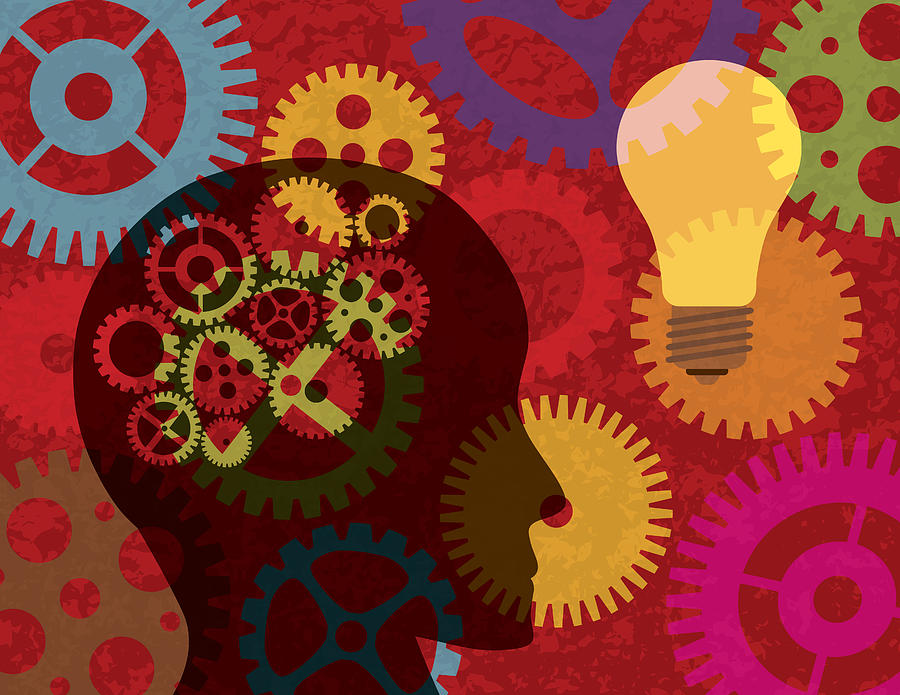 Human Head Silhouette With Gears Background Illustration Photograph