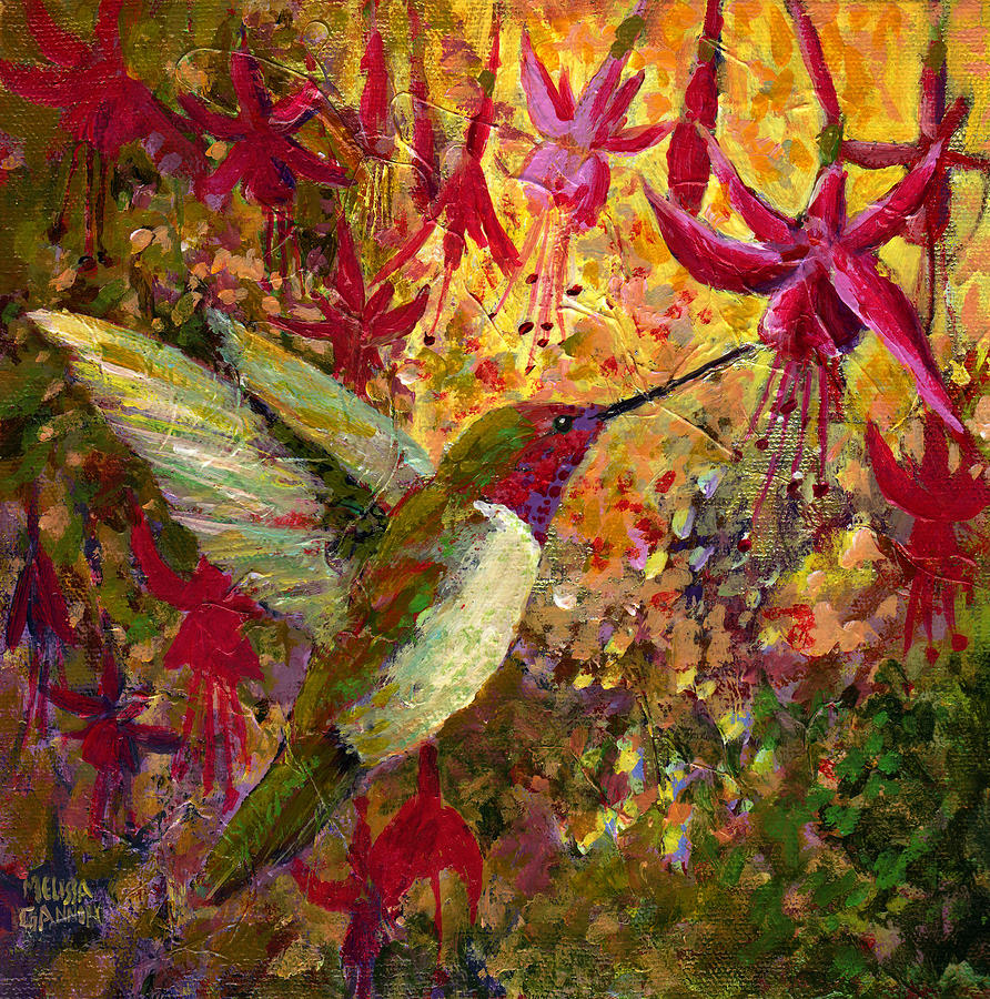 Impressionistic Painting - Hummer Dazzle by Melissa Gannon