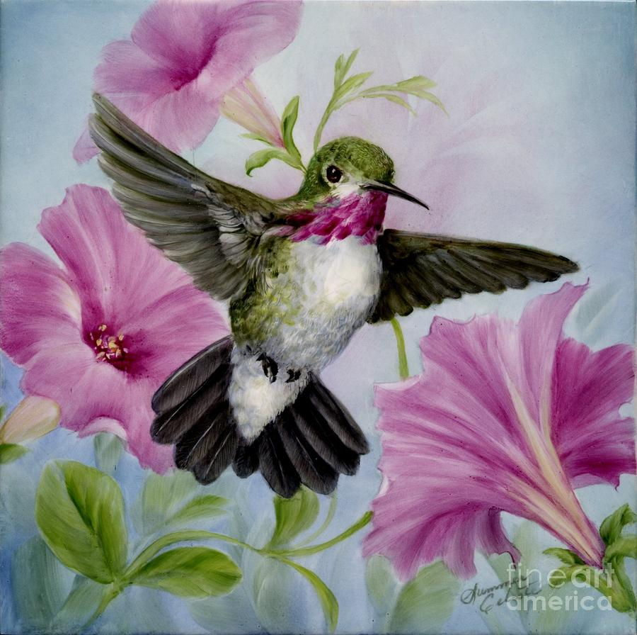 Humming Bird Painting - Hummer In Petunias by Summer Celeste