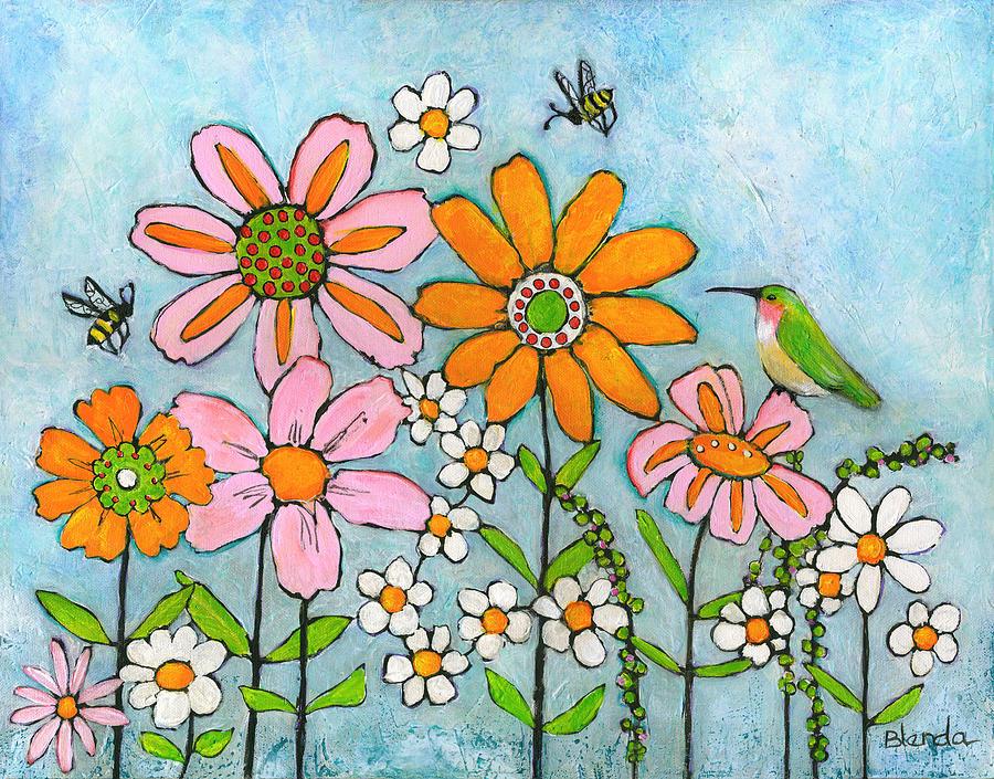 Hummingbird And Bees Painting