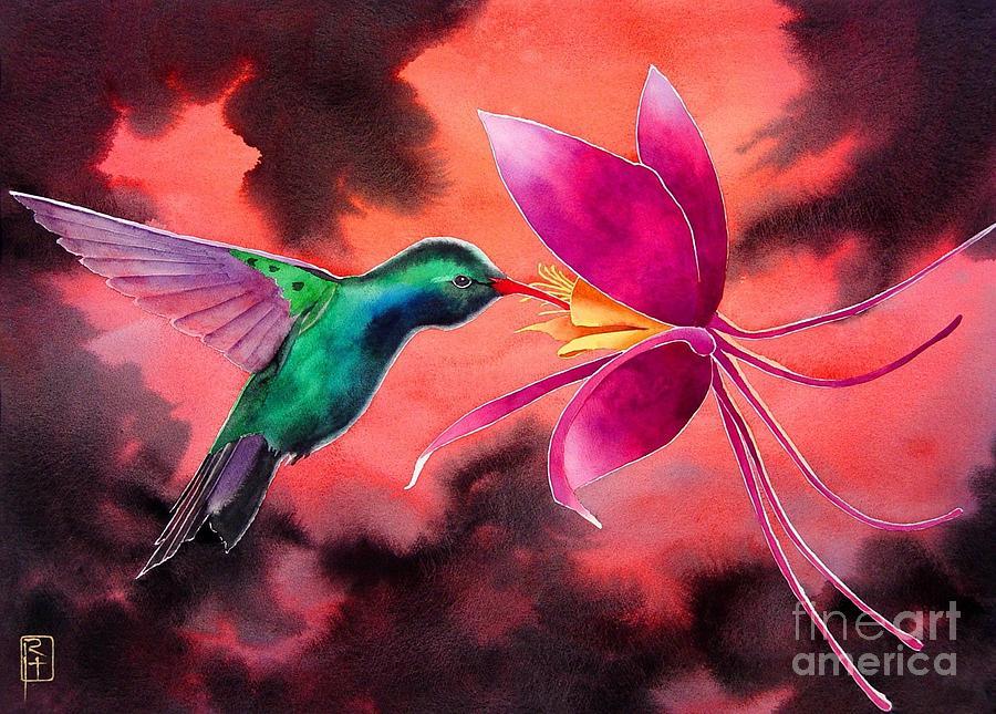 Watercolor Painting - Hummingbird And Columbine by Robert Hooper