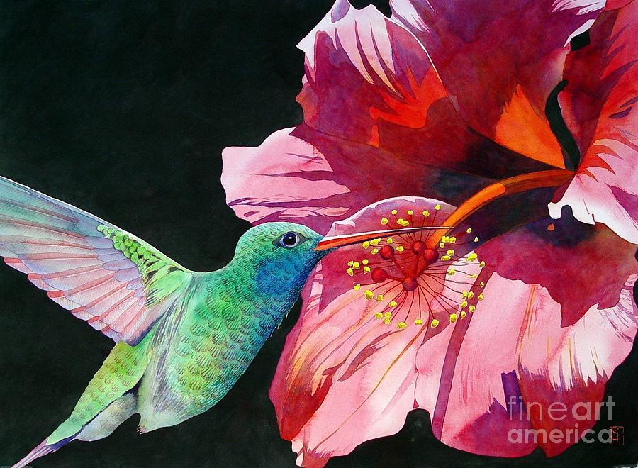 Watercolor Painting - Hummingbird And Hibiscus by Robert Hooper