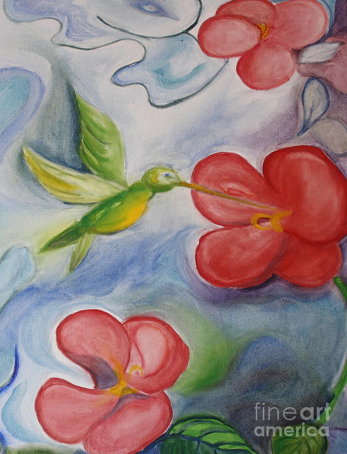 Landscape Painting - Hummingbird And Hibiscus by Teresa Hutto