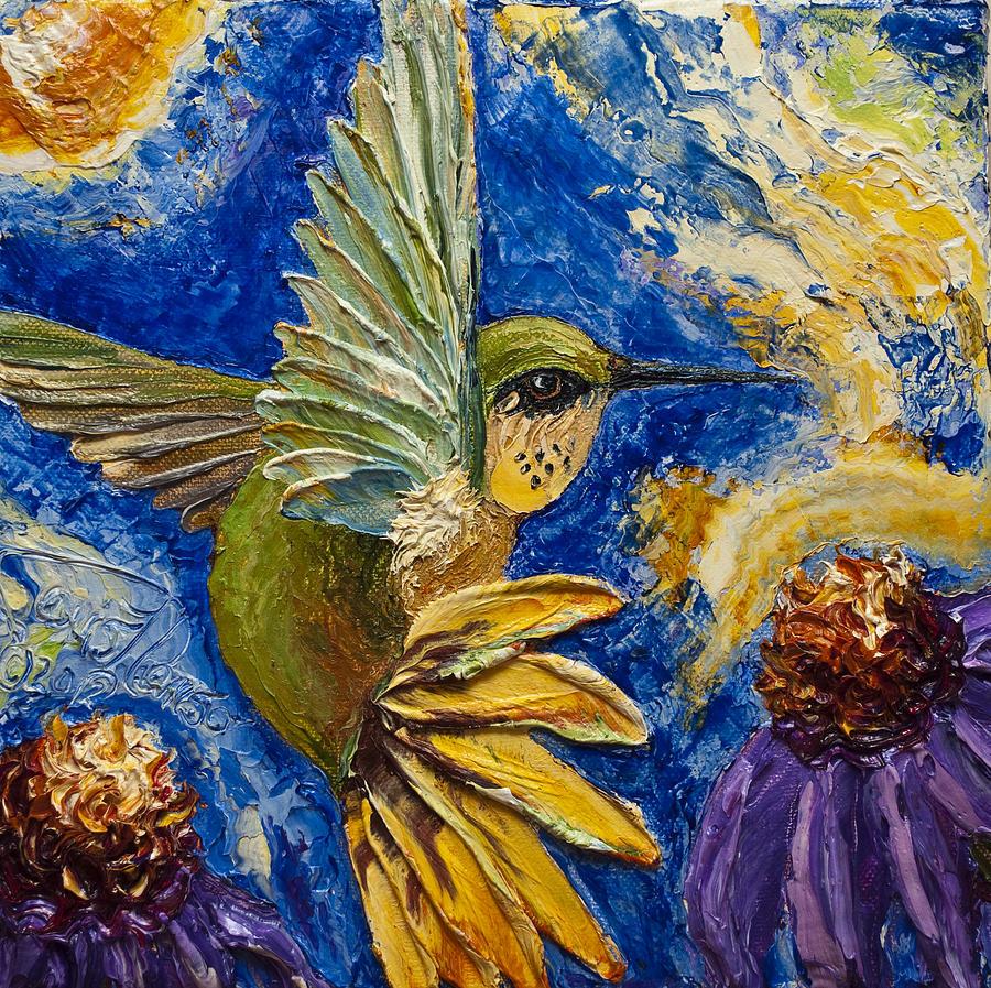 Paris Wyatt Llanso Painting - Hummingbird And Purple Cone Flowers by Paris Wyatt Llanso