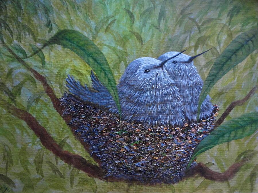 Xochi Painting - Hummingbird Babies by Xochi Hughes Madera