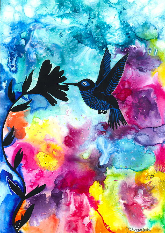 Cat Athena Louise Paintings Painting - Hummingbird by Cat Athena Louise