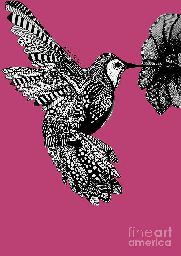 Hummingbird Drawing - Hummingbird Flight 5 by Karen Larter
