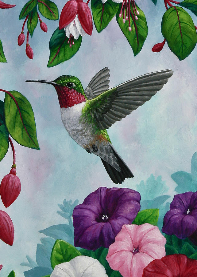 Hummingbird Greeting Card 1 Painting by Crista Forest