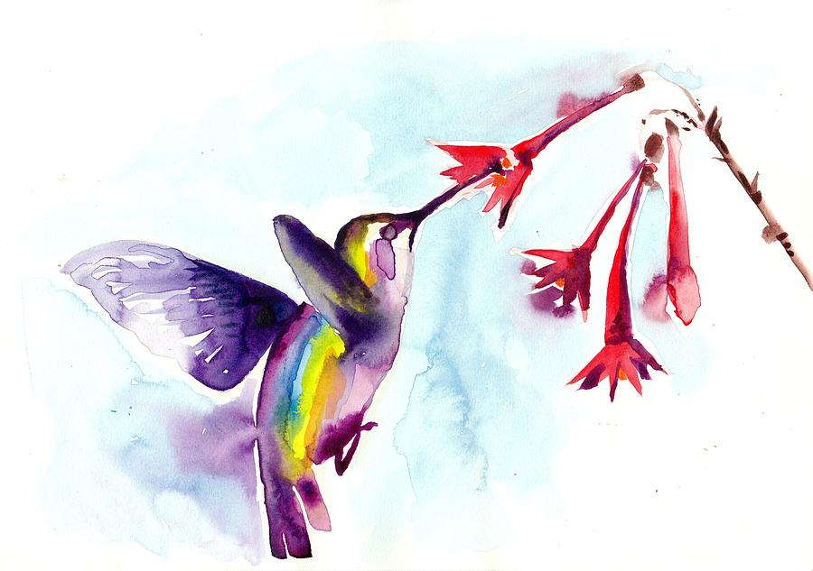 hummingbird in red flowers watercolor painting by tiberiu soos