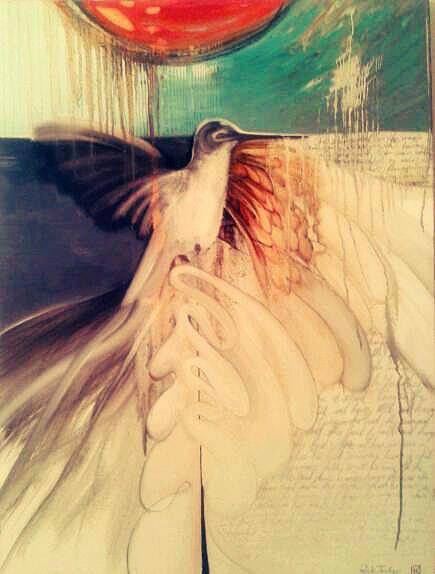 Hummingbird Painting - Hummingbird by Riek  Jonker