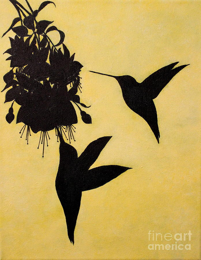 Hummingbird Silhouette Painting By D L Gerring