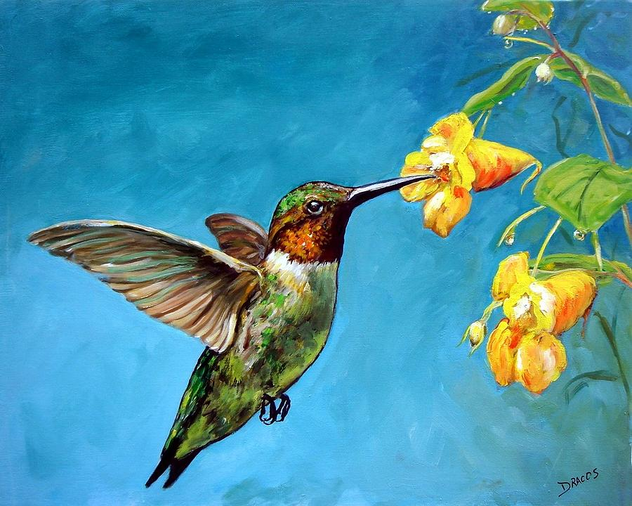 Hummingbird With Yellow Flowers Painting by Dottie Dracos