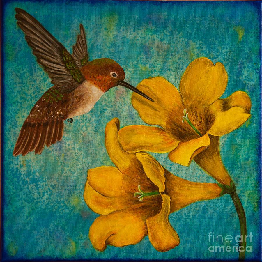 Hummingbird With Yellow Jasmine Painting By Susan Cliett