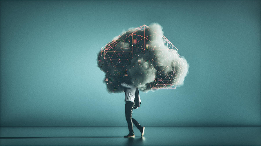 Humorous mobile cloud computing conceptual image Photograph by Gremlin